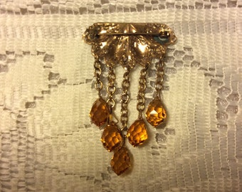 Victorian Five Amber Crystal Brooch