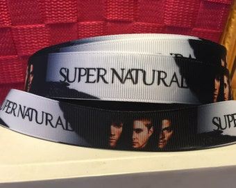 1 yard 1 inch Supernatural Grosgrain Ribbon - Comic Bow Making Ribbon - Cosplay Grosgrain Ribbon - 22 mm TV Show