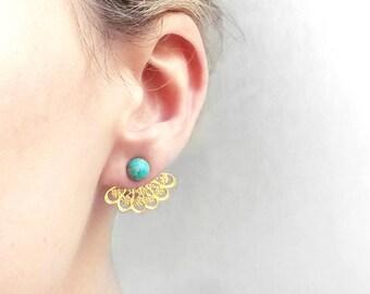 Giacche orecchio lotus turchese | Orecchini in pietra di Boho pizzo menta | Giacca Indiana orecchio filigrana | Orecchini convertibile orientale oro menta turchese