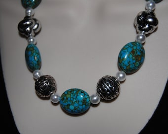 Mosaic turquoise and silver necklace