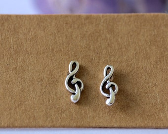 Sterling Silver Treble Clef Stud Earrings, Sterling Silver, Stud Earrings, Music, Minimalistic, Music Earrings, Studs, Earrings, Treble Clef
