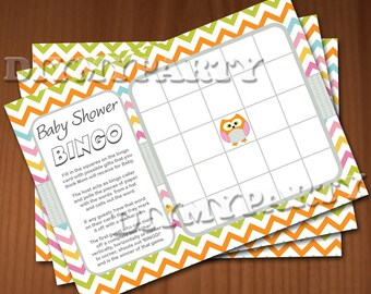 owl Baby Shower Games Baby Shower Bingo Game Baby Bingo Cards Printable Baby Bingo digital baby bingo files