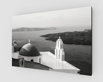 Domed Church Santorini, Canvas , 1:50 Limited Edition / black and white / photography / photo / home decor / decoration / wall art