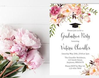Graduation invitations etsy printable boho graduation invite pink floral printable graduation invitation floral custom graduation party invitation filmwisefo Images