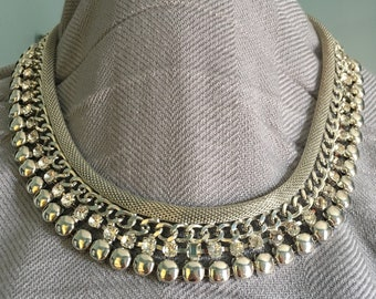 80's Inspired Statement Necklace / Chocker  Silver