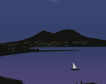Poster Digital Naples Night Vector Landscape