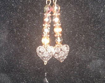 Copper colored Czech glass beads and dangle heart earrings
