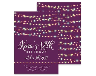 Invitations etsy au printable 18th birthday invitation garland pretty lights printable diy invite affordable invitation digital invite girls invite 18th filmwisefo