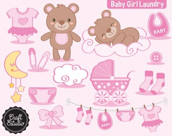 Baby Girl Laundry, Kit Digital, Bear, Clipart, Digital Paper, Instant Download, Digital Kit, Baby Clothes, Pink, Baby Shower, Baby Girl, Oso