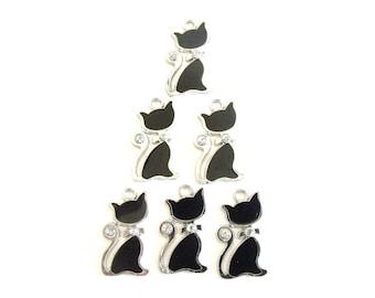 6 Pcs. Enamel Black Cats with Rhinestones, Black Cat Charms, Black Cat Pendants, Black Cat Earrings, Black Cat Necklace, Cat Jewelry Finding