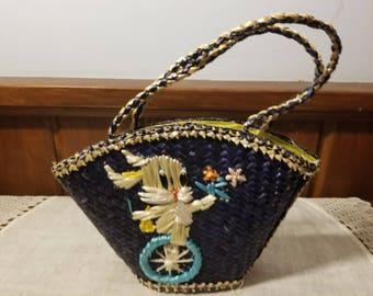 Vintage, Raffia, Easter Purse, Easter Basket, Easter Decor, Bike Riding Bunny, Navy Blue and Tan