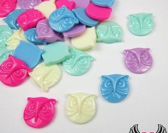 10 pc Pretty Round OWL HEAD Flatback Resin Cabochons 15x16mm Mixed