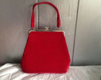 Free Shipping! Vintage Red Velvet Purse, Mid Century Modern Purse, 1950's Christmas, , Red Velvet Handbag, Holiday Purse, Valentines