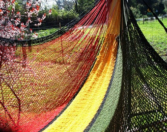 Rasta, Double size, Hand woven Mexican hammock, 100% cotton string