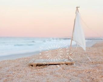Photography Digital Backdrop, Boat, Raft, Newborn Composite Digital Prop, High Resolution, Beach, Sunset
