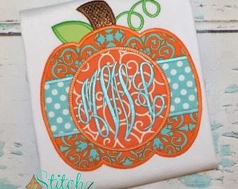 Aqua Polka Dots Monogram Pumpkin Bubble, Tee, Gown, or Bodysuit, Pumpkin Applique, Pumpkin Monogram Applique, Halloween Shirt, Fall Applique