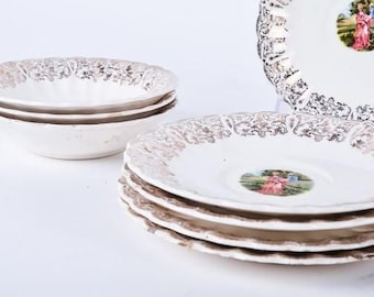 Victorian China, Nasco SOUTHERN BELLE China with Gold Accents, 22K Gold Plate, Vintage China, Floral China, China Cups, China Plates