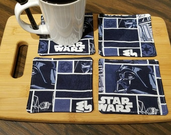 Quilted Fabric Coasters - Star Wars Navy Blue Block Fabric with Navy Blue on Reverse  - Set of 4
