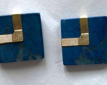 14 Kt Gold & Blue Lapis Pierced Earrings