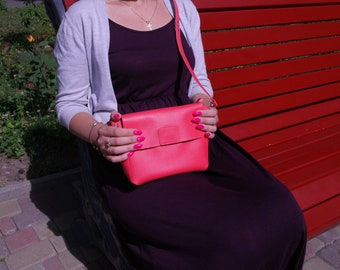 Leather Crossbody Bag, Leather purse, Everyday Purse, Shoulder Women Purse, Shoulder Bag, Women Crossbody, bag evening, Coral bag