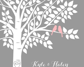 Guest Book Tree Personalized Wedding Print - 20x30 - 125 Signature Keepsake Guestbook Poster