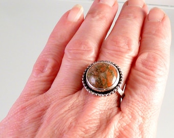 Unakite and Sterling Handmade Ring, sz 10, unisex