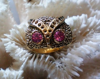 Wise Owl Ring with Pink Rhinestone Eyes - 5529