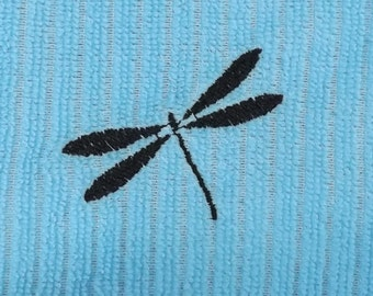 Light Blue Embroidered Dragonfly Kitchen Towel