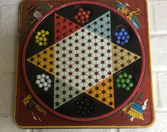 Metal Vintage Chinese checker game - marbels complete