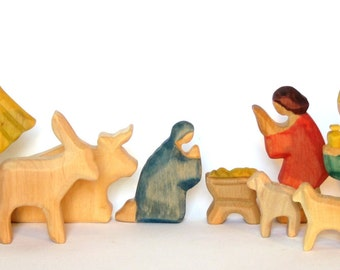 Nativity, Wooden Nativity, Carved Nativity, Créche, Christmas, Nativity Figurines, Wooden Crib, Woodcarving, Waldorf Style