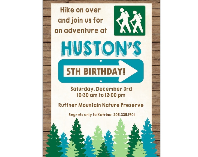 Boy or Girl Hiking Camping Outdoors Adventure Birthday Party - Can personalize colors /wording - Printable File or Printed Cards