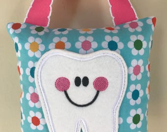 Tooth Fairy Pillow - Bright Flowers with Bright Pink Ribbon- Kids Pillow - Kids Gift