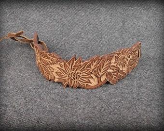 Brown Leather Cuff Bracelet | Leather Wrap Bracelet | Sunflowers  Bracelet | Technique of carving