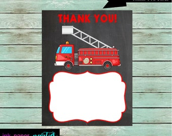 Printable Fire Truck Engine Birthday Thank You Note Cards - DIY - Digital File - Instant Download