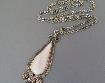 Vintage Sterling Silver Marcasite Mother of Pearl Pendant on Sterling Chain Necklace, MOP Marcasite Necklace 925 Sterling Silver