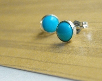 Turquoise and Sterling Stud Earrings- Free Shipping, turquoise earrings, turquoise studs, silver studs, sterling studs