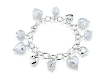 Cascade Heart Charm Bracelet - White