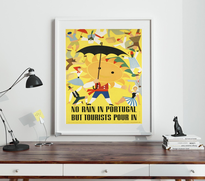 Portugal Portuguese 1980s Travel Poster Portuguese Print