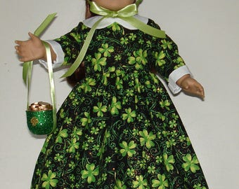 St. Patrickcs Day Colonial dress fits American Girl Felicity or Elizabeth with accessories No. 509