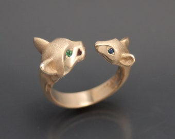 cay and mouse ring , bronze
