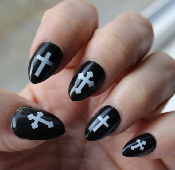 Like this item? - White Gothic CROSS Nail Art CRW Crosses Waterslide