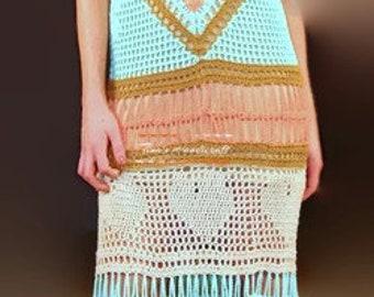 long multi-color crochet dress,gift ideas, bridal dress, wedding clothing, beach dress, bo ho cloth,gypsy dress,