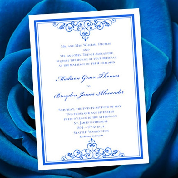 When Do I Send Out Wedding Invites: Royal Blue Wedding Invitation Template Editable Microsoft