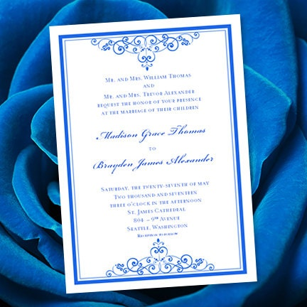 Royal Blue Wedding Invitation Template Editable Microsoft - Wedding invitation templates: blank wedding invitation templates for microsoft word