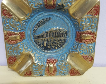 Brass Ashtray, Parthenon, Made in Greece, Greece Building Gold Blue Red