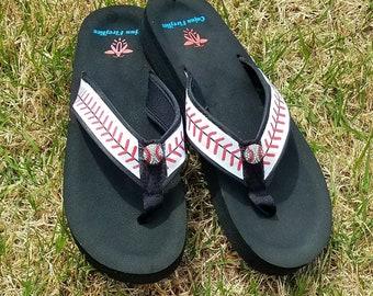 Baseball Flip Flops  Sandals  -Sizes  Small 4/5 , Med. 6/7 , Large 8/9