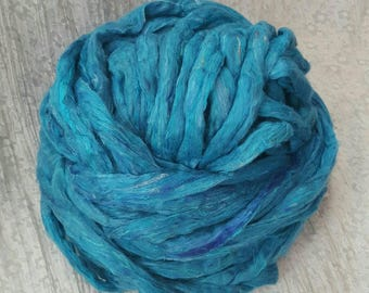 Light Blue & multicolour Recycled Sari Silk Fibre 'Sky' 250 grams Soft, Luxurious Carded Silk Sliver/Roving for Spinning, Felting, Weaving