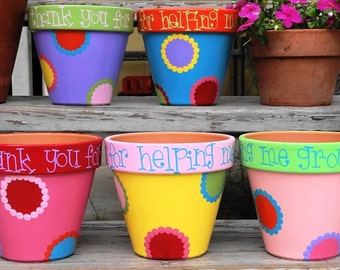 Teacher Gift, Flower Pot for Teacher, Thank you for helping me grow Pot for Teacher, Teacher Thank You