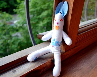 Cotton Textile White Blue Bunny Toy Doll, Handmade Toy, Stuffed Baby Bunny