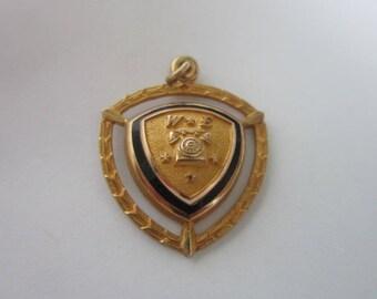 Vintage Retro Rotary Telephone W  E Gold Enameled Charm or Pendant